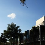 Cool unicycle sculpture suspended in the air